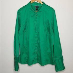 Lane Bryant 18/20 Solid Green Button Down Shirt